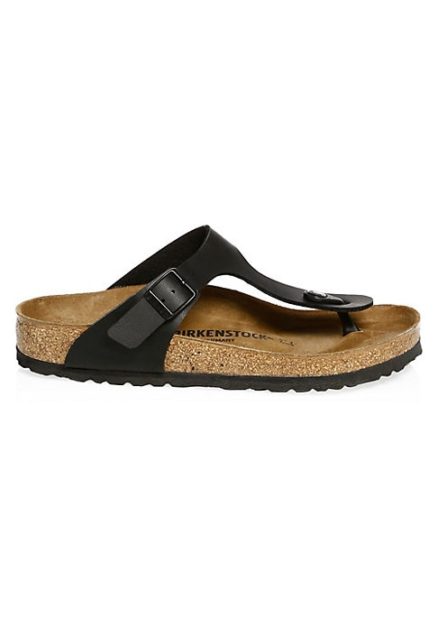 Image of Birkenstock's contoured cork footbed supports the arches of your foot and cradles your heel for all day comfort. Birko-flor/synthetic upper. Adjustable buckle closure. Open-toe. Slip-on style. Cork and latex sole. Made in Germany.