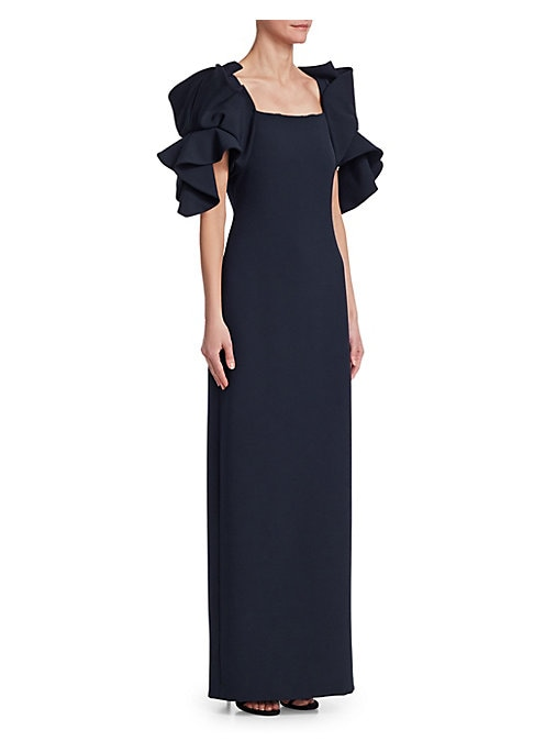 """Image of Cascading ruffled sleeves add structural elegance to minimalist dress. Squareneck. Elbow-length ruffled sleeve. Concealed back zip. Back vent. Polyester lining. About 63.5"""" from shoulder to hem. Polyester/polyurethane. Dry clean. Imported. Model shown is"""
