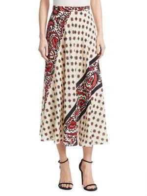 Bandana Print Long Skirt, Cherry