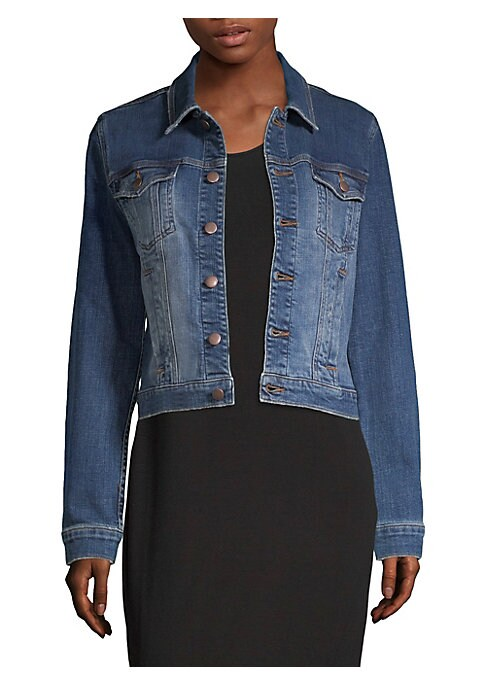 "Image of A crop silhouette updates studied denim jacket. Spread collar. Long sleeves. Button cuffs. Button front. Chest button flap pockets. Waist welt pockets. About 20"" from shoulder to hem. Cotton/spandex. Machine wash. Made in USA. Model shown is 5'10"" (177cm)"