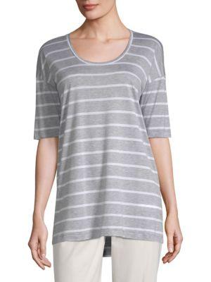 Kristin Striped Top in Grey Heather/ White