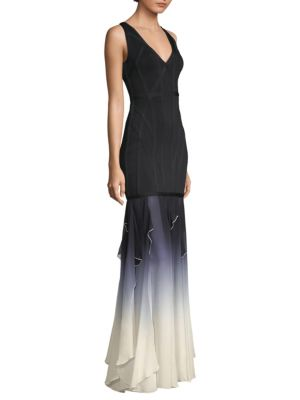 V-Neck Sleeveless Bandage Evening Gown With Ombre Chiffon Skirt, Black Combo