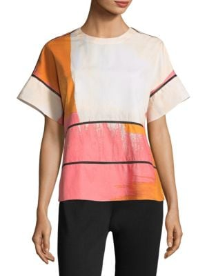 Printed Cotton Top by Donna Karan New York