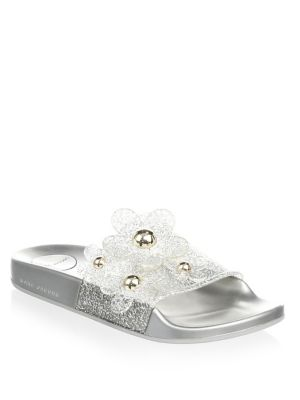 Women'S Daisy Embellished Glitter Pool Slide Sandals, Silver