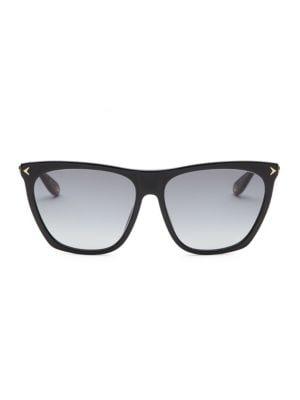 Square Acetate & Metal Gradient Sunglasses in Black