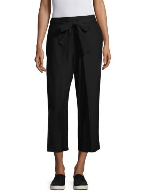 Washable Stretch Crepe Cropped Pants W/ Belt, Plus Size, Black