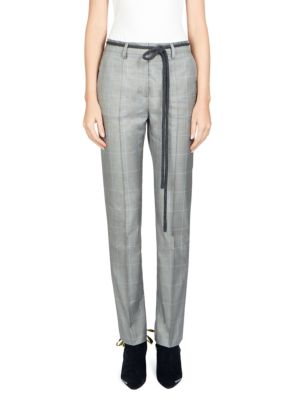 Checked Cigarette Pants in Grey