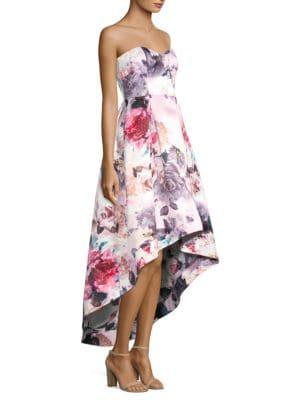 PARKER BLACK Roxanne Strapless High-Low Floral Dress in Multi