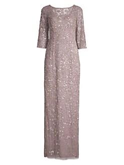bb6386e7 QUICK VIEW. Aidan Mattox. Beaded Three-Quarter-Sleeve Gown