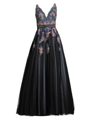 BASIX BLACK LABEL Embroidered V-Neck Sleeveless Ball Gown in Teal Multi