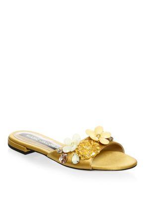 Clara Embellished Satin Sandals in Gold