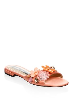 Clara Embellished Satin Sandals, Salmon