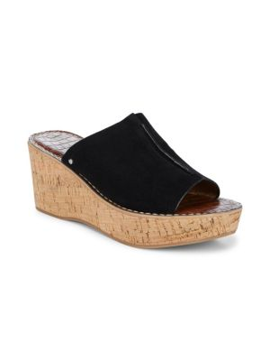 Ranger Suede Wedge Slide Sandal, Black Suede