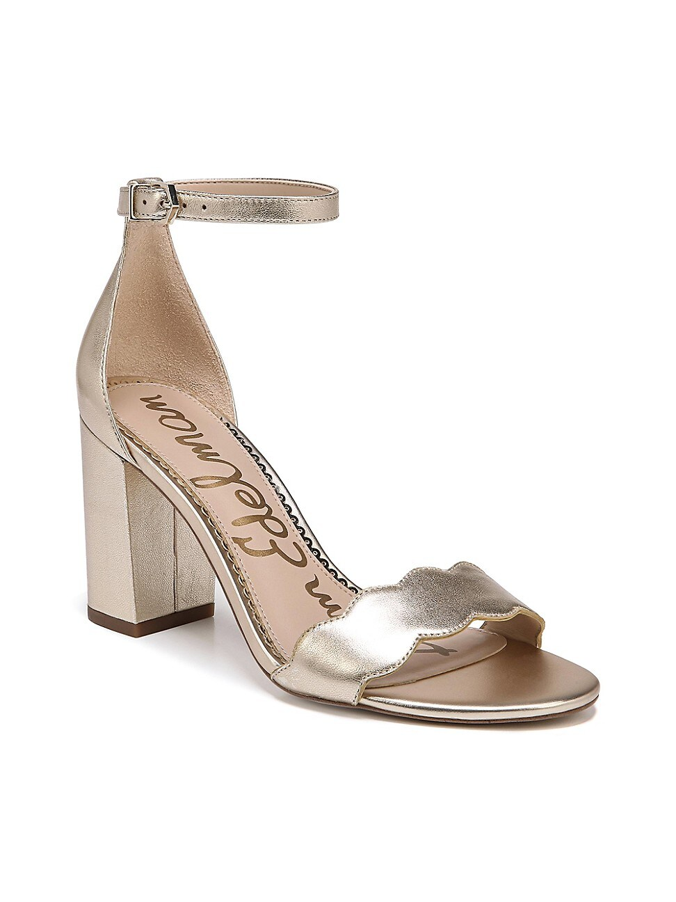 Sam Edelman Women's Odila Scallop Metallic Leather Sandals In Gold