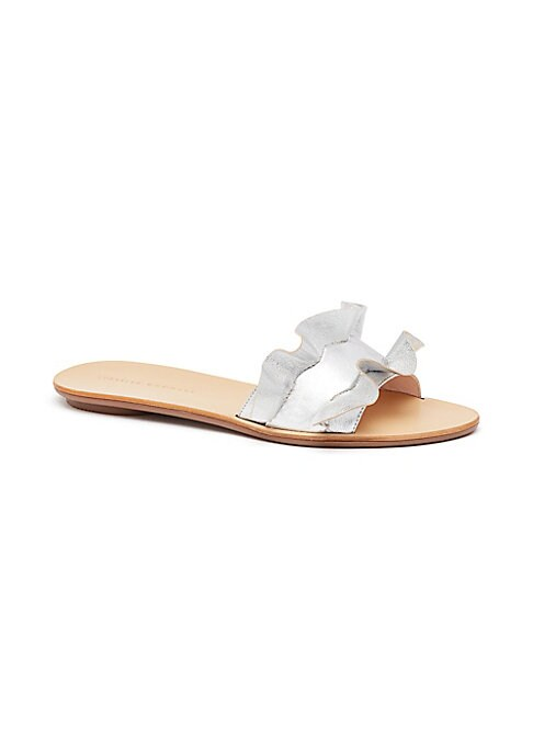 "Image of Chic metallic leather slides with pretty ruffle trim. Block heel, 0.25"" (5mm).Leather upper. Slip-on style. Open toe. Leather lining and sole. Imported."