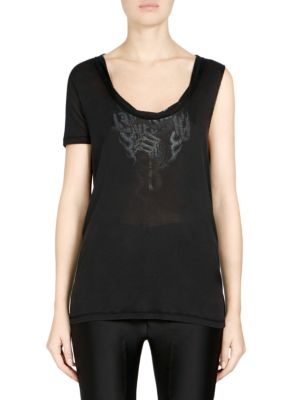 BEN TAVERNITI UNRAVEL PROJECT Silk One-Sleeve Graphic Tee in Black Multi