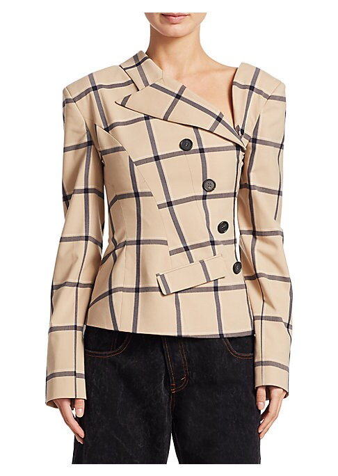 "Image of Asymmetric check jacket with button accents. Asymmetric neckline. Notched lapels. Long sleeves. Concealed side zip closure. About 22.5"" from shoulder to hem. Wool. Dry clean. Imported. Model shown is 5'10"" (177cm) wearing US size 4."