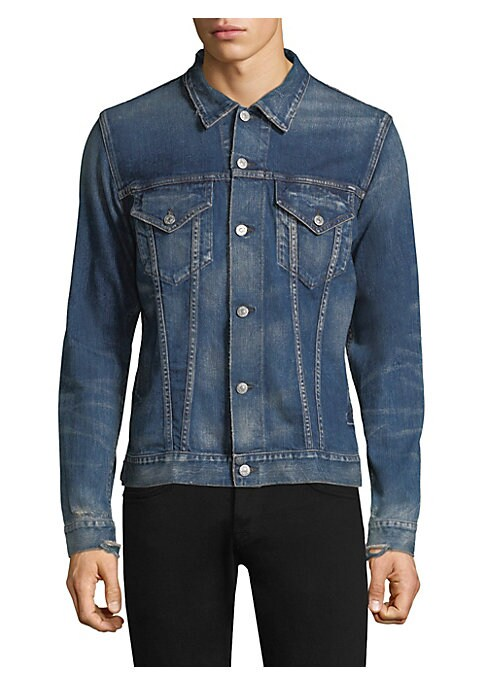 "Image of Classic denim jacket finished with seam detailing. Spread collar. Long sleeves. Buttoned cuffs. Button front. Chest buttoned flap pockets. Slim-fit. About 18"" from shoulder to hem. Cotton/polyurethane. Dry clean. Made in USA."
