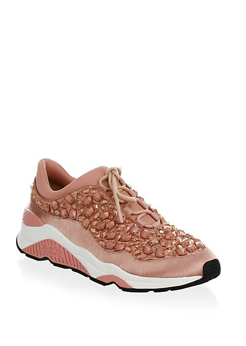 Image of Embroidered crystals add shine to elegant satin sneakers. Satin upper. Lace-up vamp. Round toe. Satin lining. Padded insole. Rubber sole. Imported.