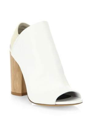 Drum Leather Glove Slingback Booties in White