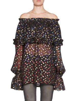 SAINT LAURENT Polka Dot Silk-Blend Off-The-Shoulder Blouse, Black-Multi