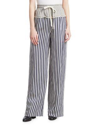 Grey/Stripe Terry Stripe Combo Pull On Pant, Grey Stripe