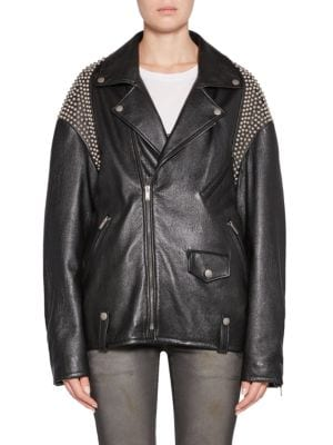 Zip-Front Oversized Moto Leather Jacket With Shoulder Studs in Black