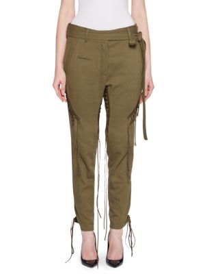 Cotton-Linen Twill Lace-Up Pants, Khaki