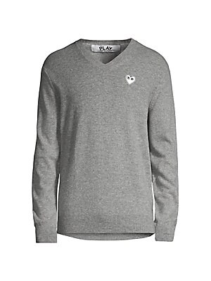 White Heart V Neck Sweater by Comme Des Garcons Play