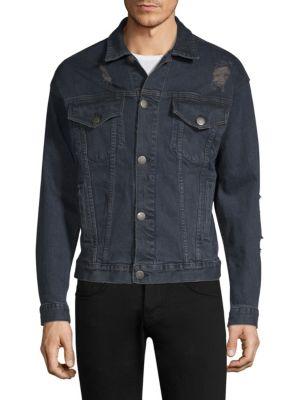 DIM MAK Obex Distressed Denim Jacket in Dark Indigo