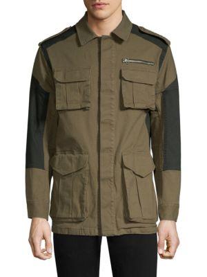 DIM MAK Hunterdon Colorblock Cotton Field Jacket in Moss Black