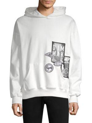 DIM MAK Graphic Cotton Hoodie in White