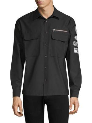 DIM MAK Patch Long-Sleeve Workshirt in Black