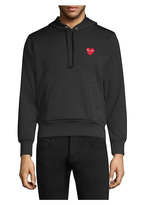 """Image of Cotton hoodie with front heart accent. Attached drawstring hood. Long sleeves. Front kangaroo pocket. Pullover style. About 25"""" from shoulder to hem. Cotton. Machine wash. Imported. ."""