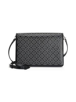 Large Leather Arabesque Shoulder Bag, Noir