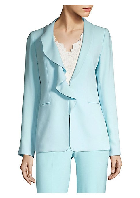 """Image of Asymmetric ruffle collar offers dynamic texture to jacket. Shawl collar with ruffles on one side. Long sleeves. Front hook closure. Waist welt pockets. Polyester and elastane lining. About 26"""" from shoulder to hem. Triacetate/polyester. Dry clean. Importe"""