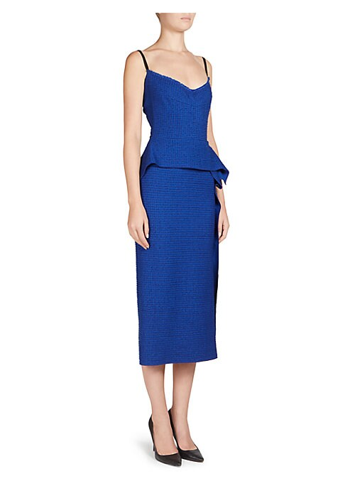 """Image of Peplum applique accentuates boucle-textured dress. Draped neck. Contrast straps. Back zip closure.V-back. Peplum detail. Lace inserts. About 45"""" from shoulder to hem. Viscose/acetate. Dry clean. Made in UK. Model shown is 5'10"""" (177cm) wearing US size 4."""