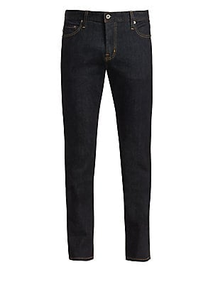 """Image of Casual essential jeans tailored from cotton-blend fabric in a slim straight fit. Belt loops Button closure Five-pocket style Cotton/polyurethane Machine wash Made in USA SIZE & FIT Slim straight fit Rise, about 10.25"""" Inseam, about 34"""" Leg opening, about"""