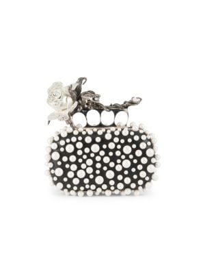 Alexander Mcqueen  Four-Ring Rose & Faux-Pearl Clutch