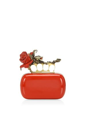Red Rose Four Ring Clutch, Lust Red