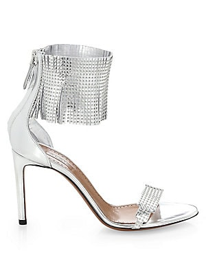 c9937657ebeb Alaïa - Studded Fringe Leather Ankle-Strap Sandals - saks.com