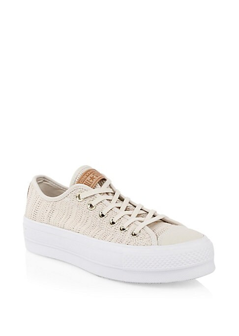 Image of Breezy summer sneakers with woven crochet-like texture. Woven upper. Lace-up style. Round toe. Textile lining. Padded insole. Rubber sole. Imported.