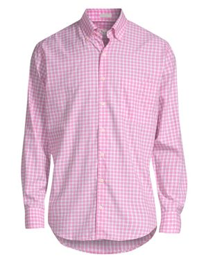 PETER MILLAR Crown Finish Marsh Regular Fit Check Sport Shirt in Mambo Pink