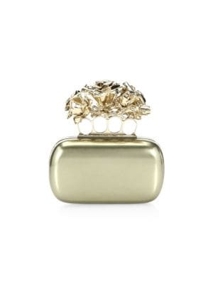 Four-Ring Rose Leather Clutch, Gold