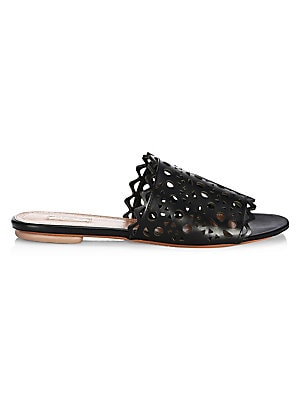 Image of Leather slides with perforated detailing Leather upper Open toe Slip-on style Leather sole Made in Italy. Women's Shoes - Advanced Women's Designe. Alaïa. Color: Black. Size: 39 (9).