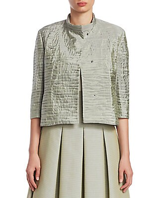 Image of ONLY AT SAKS. This boxy jacket offers offers a contemporary vibe with its crinkled textured look. Cropped with tiered panels, this jacket has a dimensional aesthetic. Stand collar Three-quarter sleeves Split cuffs Snap-button front Side seam waist pockets