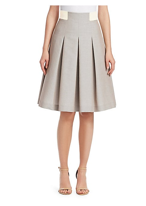 Image of EXCLUSIVELY AT SAKS FIFTH AVENUE. With inverted box pleats creating a full A-line silhouette, this striped skirt is accented with colorblocking at the waist, highlighting the narrowest point. Banded waist. Concealed back zip closure. Lined. Cotton. Trim: