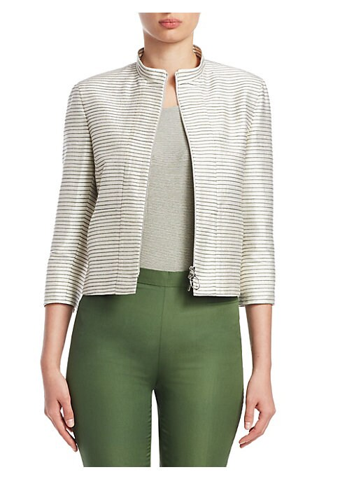 Image of EXCLUSIVELY AT SAKS FIFTH AVENUE. Cut from lustrous striped silk, this structured jacket is a polished wardobe staple. Layer on top of stripes for a pattern-on-pattern effect. Stand collar. Three-quarter sleeves. Zip front with O-ring hardware. Silk. Line