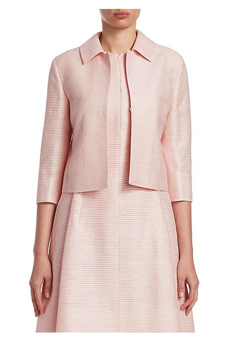 Image of EXCLUSIVELY AT SAKS FIFTH AVENUE. Designed in a cropped silhouette, this structured jacket is cut from lustrous, stripe-textured silk. Point collar. Three-quarter sleeves. Slit cuffs. Hook-and-eye closure. Inseam pockets. Back inverted box pleat. Lined. S