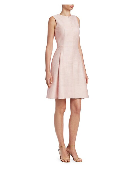 Image of EXCLUSIVELY AT SAKS FIFTH AVENUE. Designed in an expertly tailored silhouette, this structured dress is cut from lustrous, stripe-textured silk. Roundneck. Sleeveless. Concealed back zip closure. Shaping darts. Pleated skirt. Lined. Silk. Dry clean. Impor